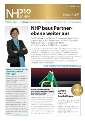 NHP News Alert September 2016 erschienen