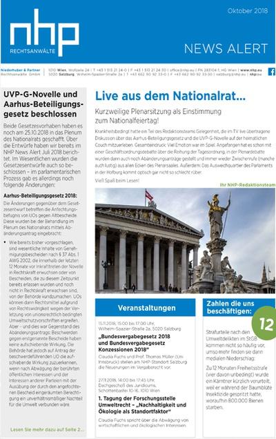 NHP News Alert Oktober 2018 erschienen
