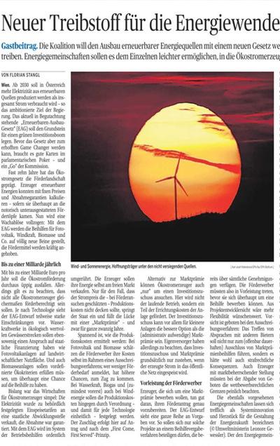 Neuer Treibstoff für die Energiewende: Gastbeitrag zum EAG in der Tagungszeitung Die Presse von Florian Stangl