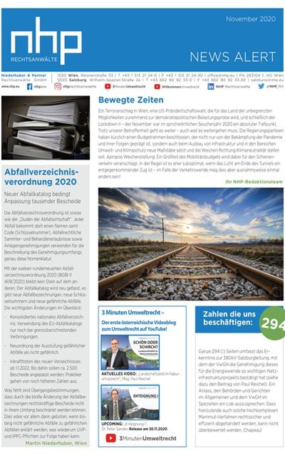 NHP NEWS ALERT NOVEMBER 2020 ERSCHIENEN