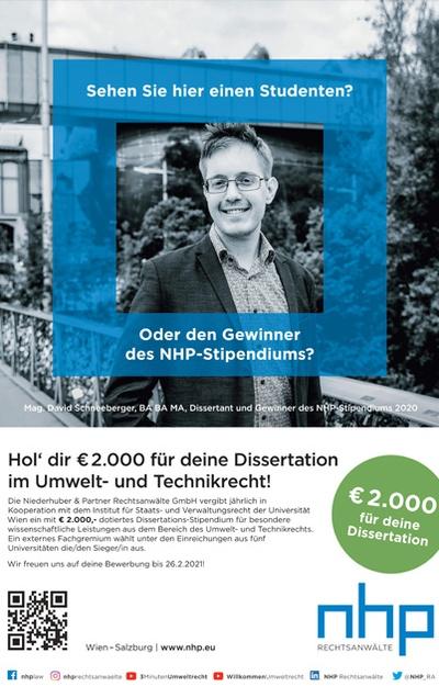 Niederhuber & Partner schreibt zum sechsten Mal  Dissertations-Stipendium aus